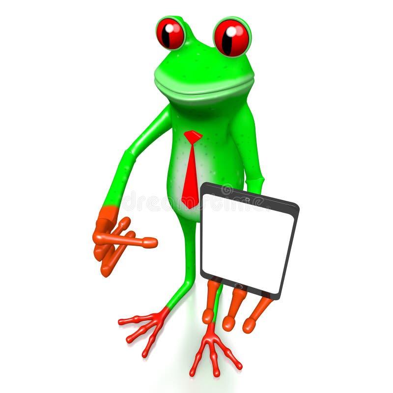 τρισδιάστατος βάτραχος με μια ταμπλέτα ελεύθερη απεικόνιση δικαιώματος