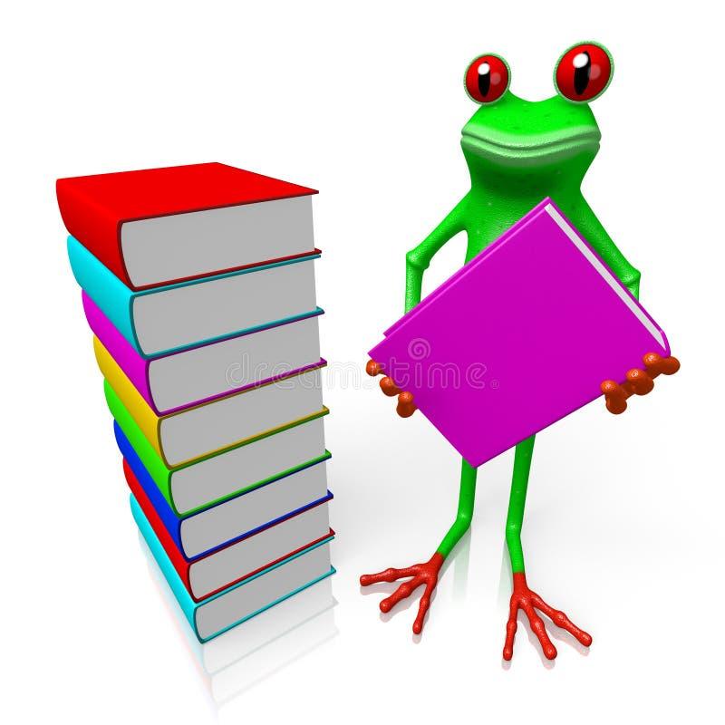 τρισδιάστατος βάτραχος με τα βιβλία - έννοια γνώσης διανυσματική απεικόνιση