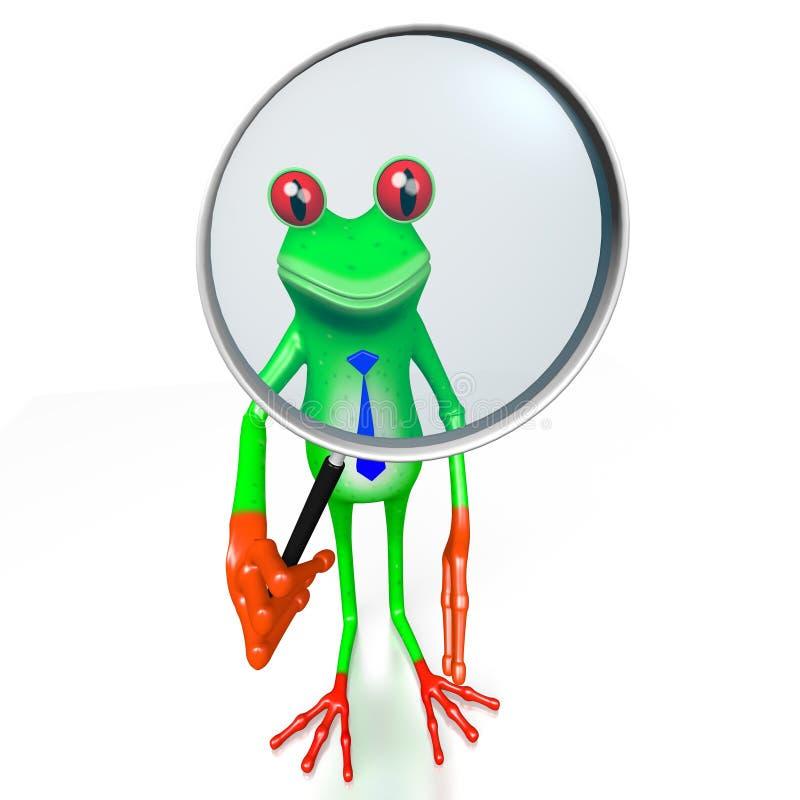 τρισδιάστατος βάτραχος με την ενίσχυση - γυαλί απεικόνιση αποθεμάτων