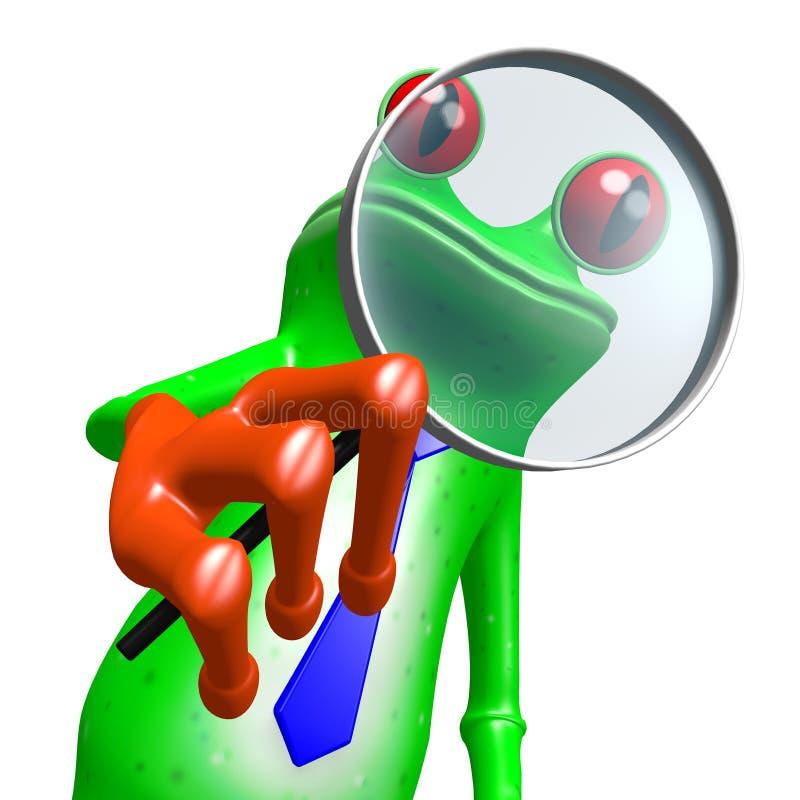 τρισδιάστατος βάτραχος με την ενίσχυση - γυαλί διανυσματική απεικόνιση