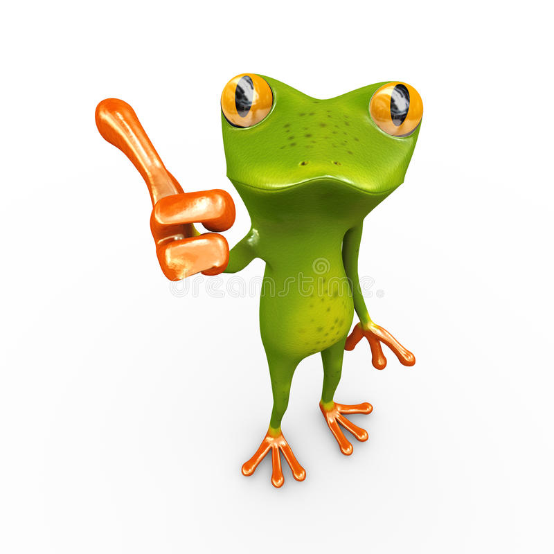 τρισδιάστατος βάτραχος με το thumbsup δύο διανυσματική απεικόνιση