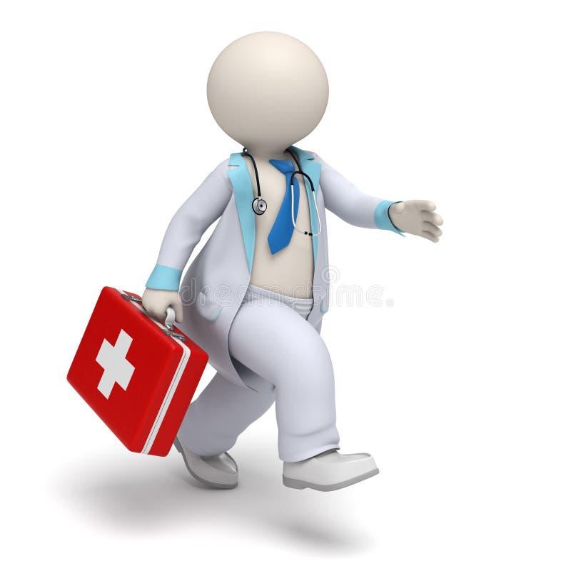 τρισδιάστατος γιατρός με το μεγάλο τρέξιμο περίπτωσης πρώτων βοηθειών - προκύψτε ελεύθερη απεικόνιση δικαιώματος