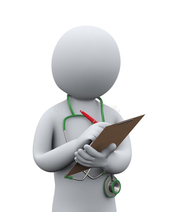 τρισδιάστατος γιατρός που γράφει το υπομονετικό ιατρικό ιστορικό απεικόνιση αποθεμάτων