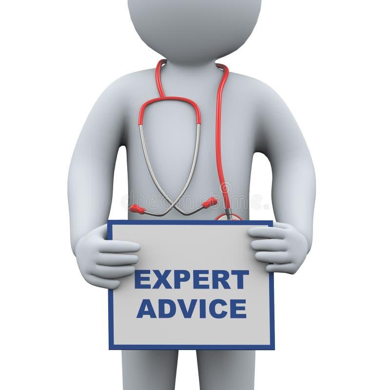 τρισδιάστατος γιατρός που κρατά τη συμβουλή από ειδήμονες διανυσματική απεικόνιση