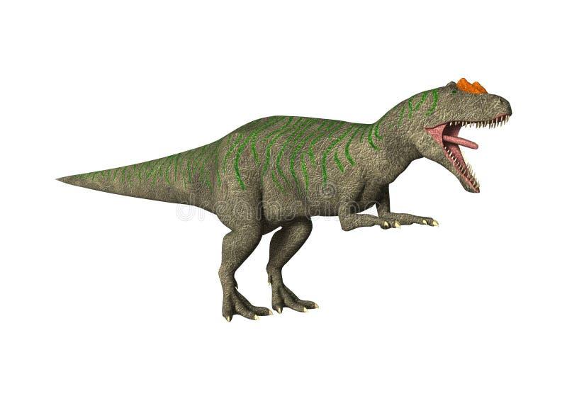 τρισδιάστατος δεινόσαυρος Allosaurus απόδοσης στο λευκό διανυσματική απεικόνιση