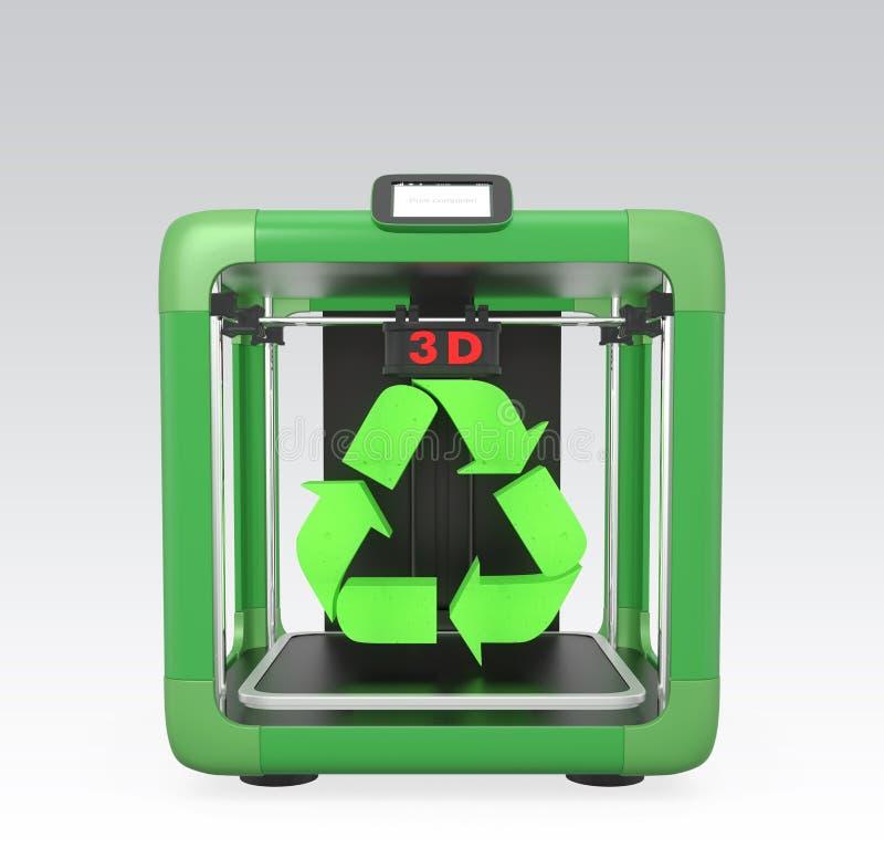 τρισδιάστατος εκτυπωτής και ανακύκλωσης σημάδι που απομονώνονται στο γκρίζο υπόβαθρο ελεύθερη απεικόνιση δικαιώματος