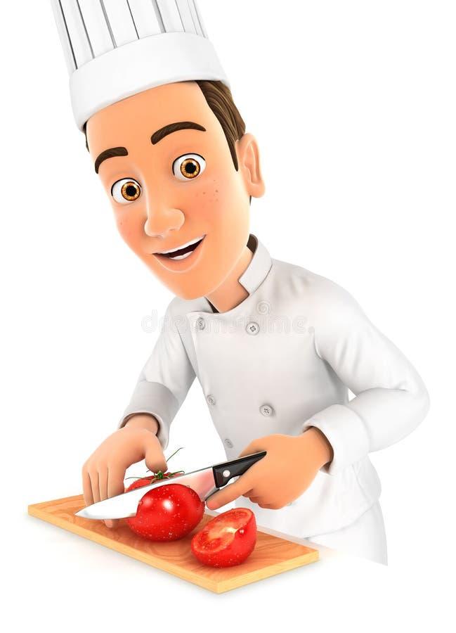 τρισδιάστατος επικεφαλής αρχιμάγειρας που κόβει μια ντομάτα ελεύθερη απεικόνιση δικαιώματος