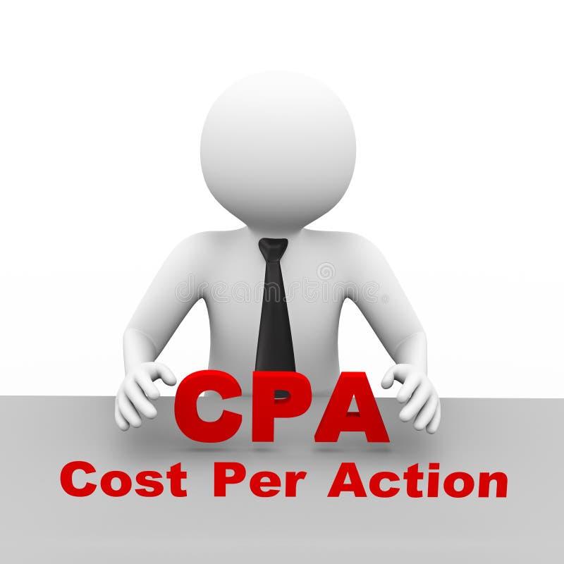 τρισδιάστατος επιχειρηματίας με το κόστος ανά cpa δράσης απεικόνιση αποθεμάτων