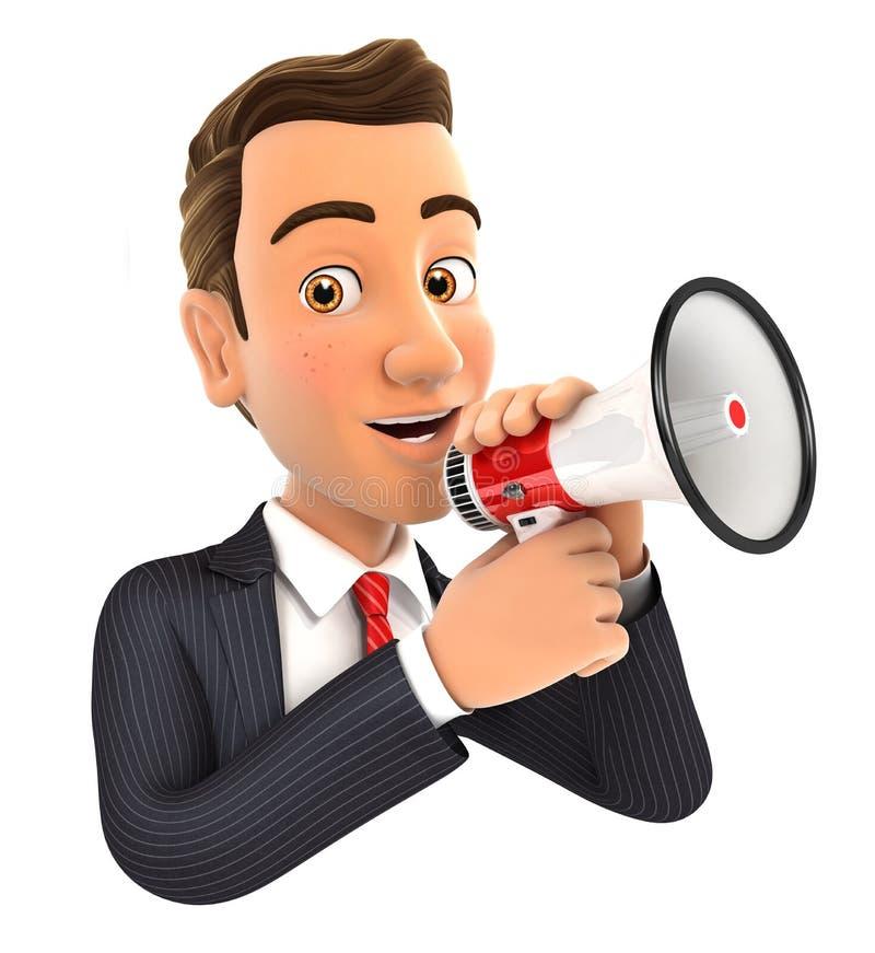 τρισδιάστατος επιχειρηματίας που μιλά megaphone διανυσματική απεικόνιση