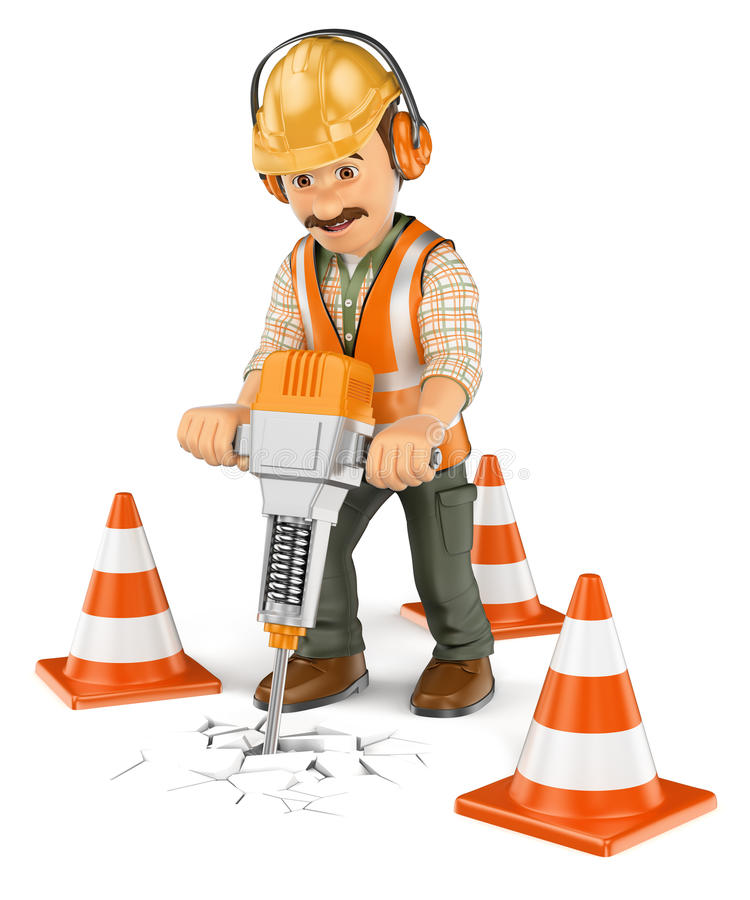 τρισδιάστατος εργάτης οικοδομών με έναν φορητό υδραυλικό διακόπτη ελεύθερη απεικόνιση δικαιώματος