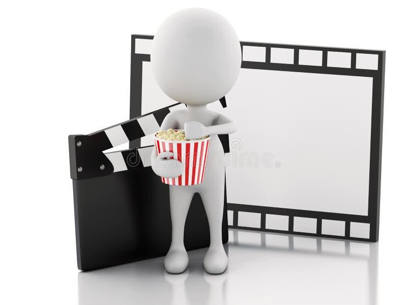τρισδιάστατος λευκός με clapper κινηματογράφων, popcorn και το εξέλικτρο ταινιών ελεύθερη απεικόνιση δικαιώματος