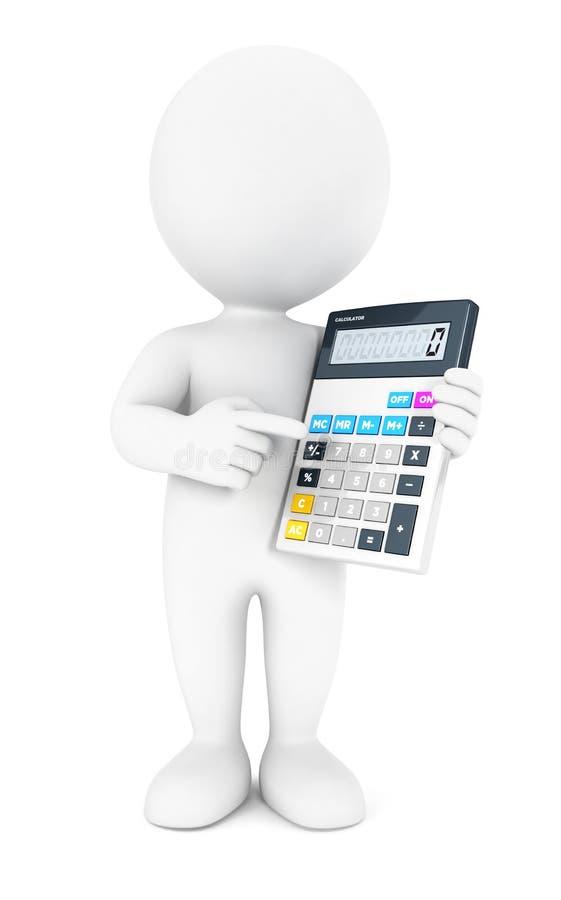 τρισδιάστατος λευκός λογιστής ανθρώπων ελεύθερη απεικόνιση δικαιώματος