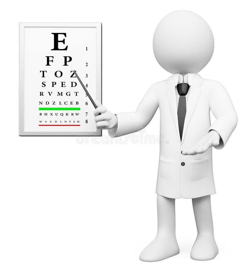 τρισδιάστατοι λευκοί άνθρωποι. Optometrist, οπτικός διανυσματική απεικόνιση