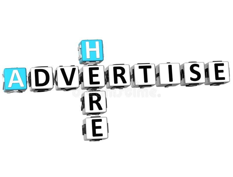 τρισδιάστατος διαφημίστε εδώ το σταυρόλεξο ελεύθερη απεικόνιση δικαιώματος