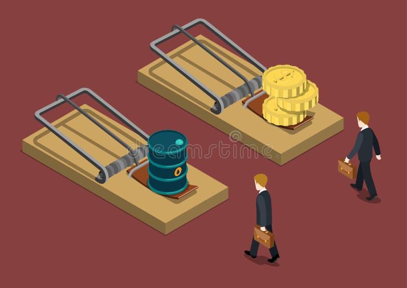 Τρισδιάστατος Ιστός κρίσης επένδυσης πτώσης των τιμών πετρελαίου επιχειρησιακών παγίδων isometric ελεύθερη απεικόνιση δικαιώματος