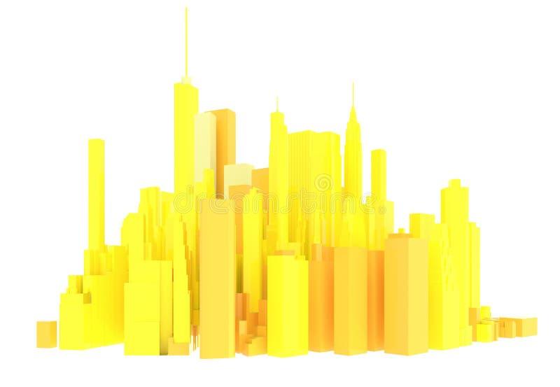 τρισδιάστατος κίτρινος ορίζοντας που απομονώνεται διανυσματική απεικόνιση