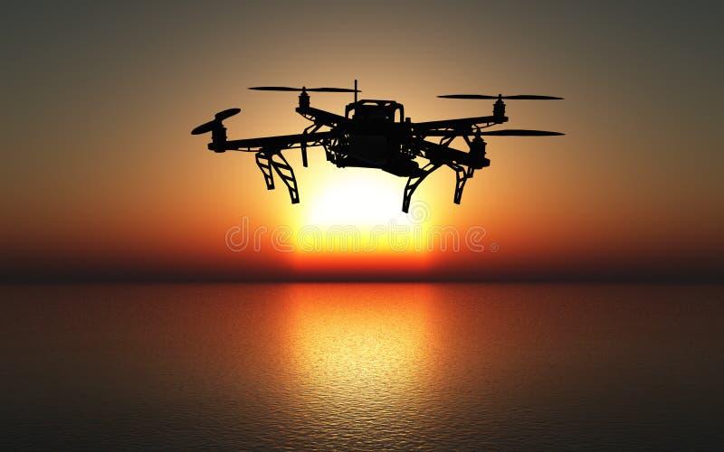 τρισδιάστατος κηφήνας που πετά επάνω από μια θάλασσα ηλιοβασιλέματος διανυσματική απεικόνιση