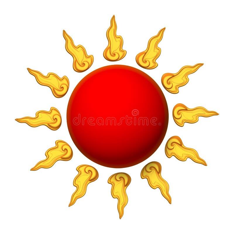 τρισδιάστατος κόκκινος ήλιος στοκ εικόνες με δικαίωμα ελεύθερης χρήσης