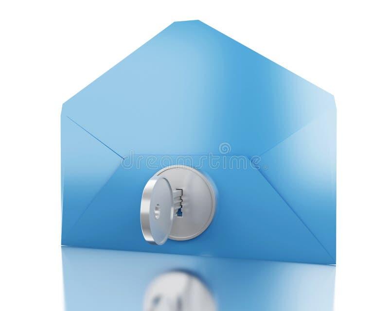 τρισδιάστατος μπλε φάκελος με την κλειδαριά διανυσματική απεικόνιση