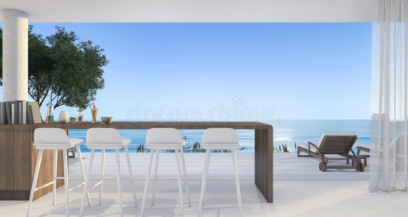 τρισδιάστατος να δειπνήσει απόδοσης φραγμός στη μικρή βίλα κοντά στην όμορφη παραλία και θάλασσα το μεσημέρι με το μπλε ουρανό απεικόνιση αποθεμάτων