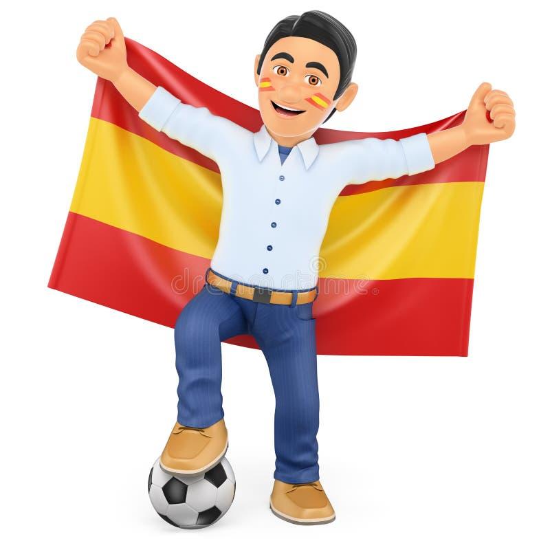 τρισδιάστατος οπαδός ποδοσφαίρου με τη σημαία της Ισπανίας διανυσματική απεικόνιση