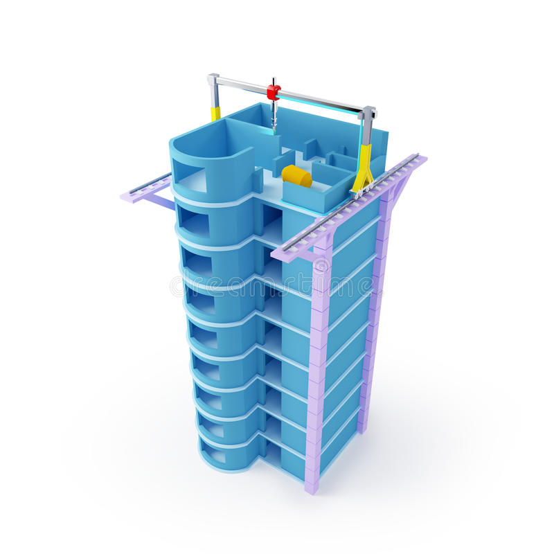 τρισδιάστατος ουρανοξύστης εκτύπωσης διανυσματική απεικόνιση