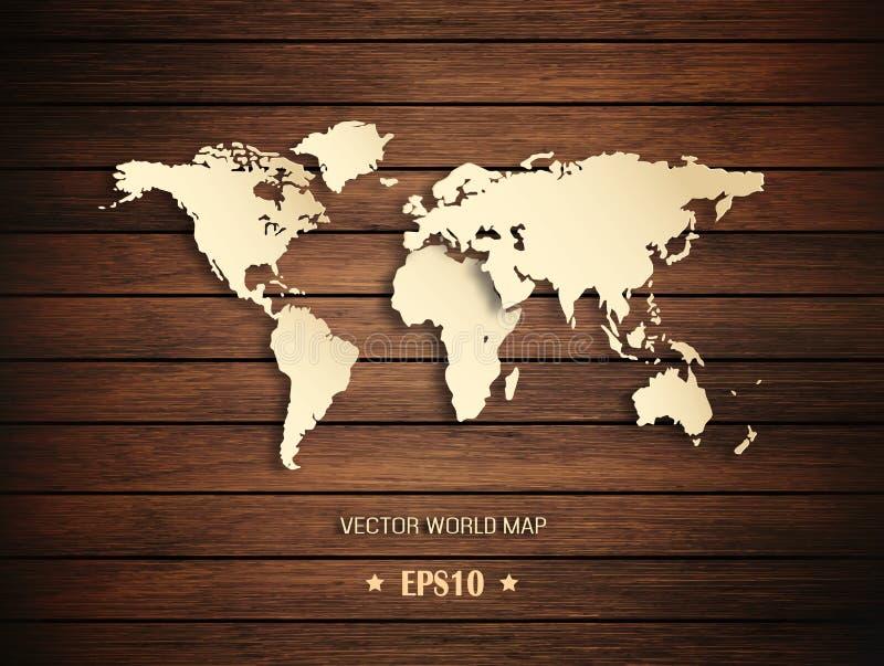 τρισδιάστατος παγκόσμιος χάρτης σε ένα ξύλινο υπόβαθρο διανυσματική απεικόνιση
