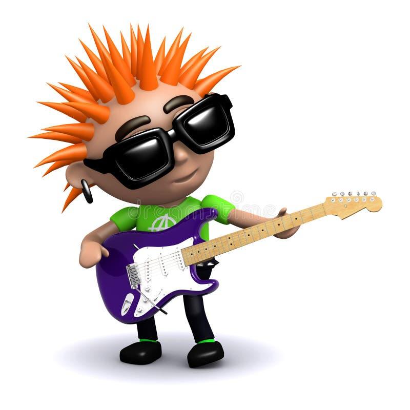 τρισδιάστατος πανκ κιθαρίστας απεικόνιση αποθεμάτων