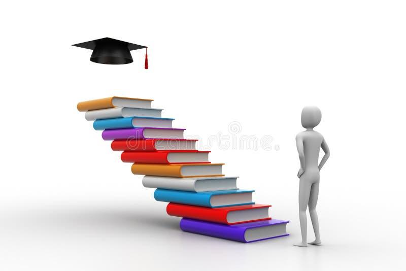 τρισδιάστατος πτυχιούχος με τα βιβλία και το καπέλο βαθμολόγησης απεικόνιση αποθεμάτων