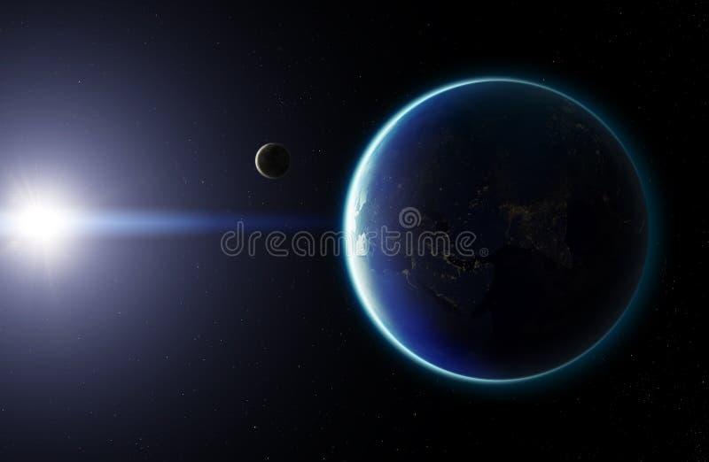τρισδιάστατος πλανήτης Γη με το φεγγάρι Στοιχεία αυτής της εικόνας που εφοδιάζεται από το Ν διανυσματική απεικόνιση