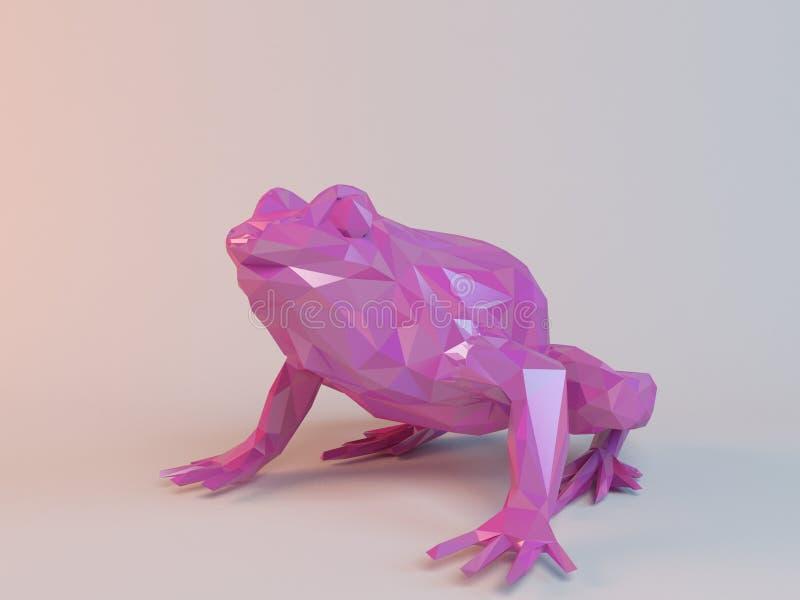 τρισδιάστατος ρόδινος χαμηλός πολυ (βάτραχος) απεικόνιση αποθεμάτων