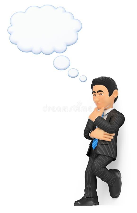 τρισδιάστατος στοχαστικός επιχειρηματίας με μια φυσαλίδα σκέψης απεικόνιση αποθεμάτων