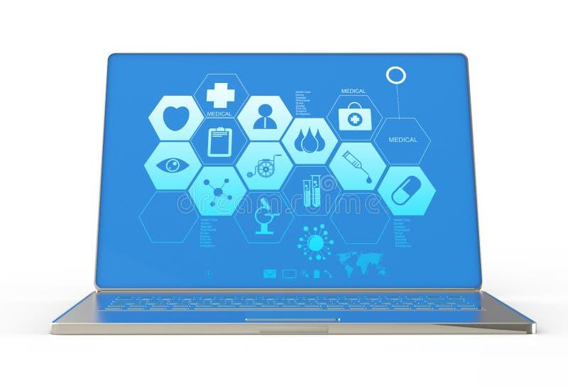 τρισδιάστατος σύγχρονος φορητός προσωπικός υπολογιστής και ιατρική διεπαφή διανυσματική απεικόνιση