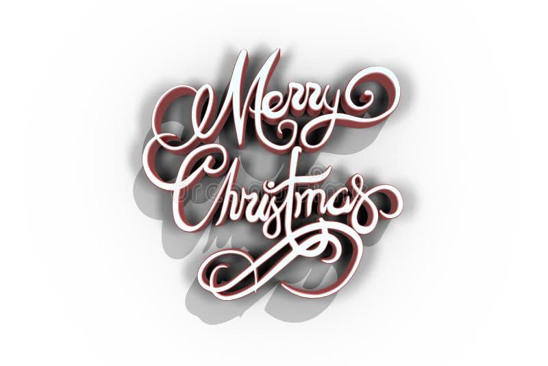 Τρισδιάστατος του κειμένου Χαρούμενα Χριστούγεννας στο κόκκινο και άσπρο χρώμα απεικόνιση αποθεμάτων