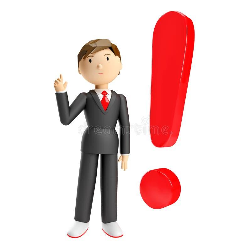 τρισδιάστατος δώστε του επιχειρηματία το κόκκινο σημάδι θαυμαστικών διανυσματική απεικόνιση