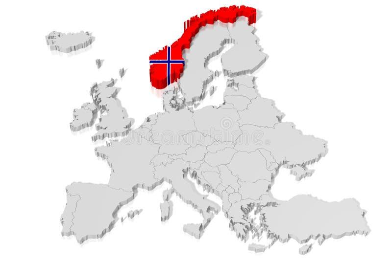 τρισδιάστατος χάρτης, σημαία - Νορβηγία διανυσματική απεικόνιση