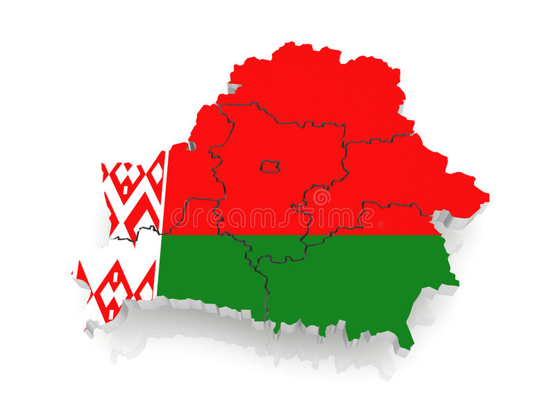 Τρισδιάστατος χάρτης της Λευκορωσίας. ελεύθερη απεικόνιση δικαιώματος