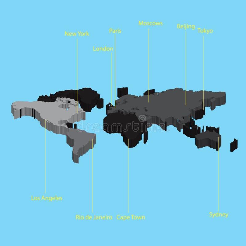 τρισδιάστατος χάρτης του κόσμου με τις θέσεις eps10 πόλεων διανυσματική απεικόνιση