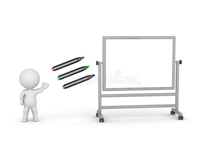 τρισδιάστατος χαρακτήρας με τους δείκτες και μεγάλο Whiteboard διανυσματική απεικόνιση