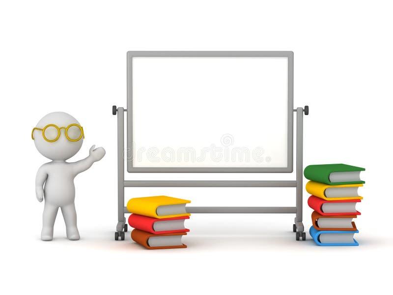 τρισδιάστατος χαρακτήρας με Whiteboard και το σωρό των βιβλίων διανυσματική απεικόνιση