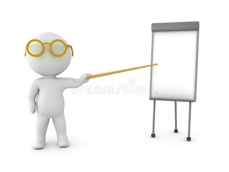 τρισδιάστατος χαρακτήρας που δείχνει σε ένα μικρό whiteboard απεικόνιση αποθεμάτων
