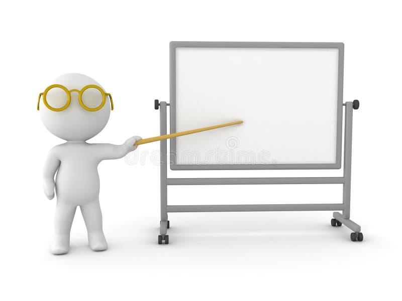 τρισδιάστατος χαρακτήρας που δείχνει σε ένα whiteboard διανυσματική απεικόνιση