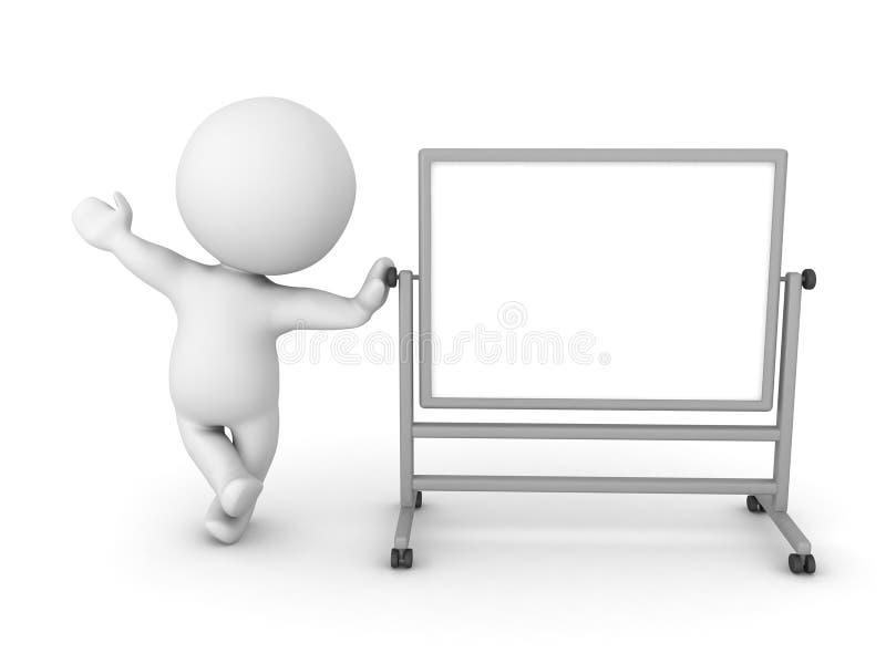 τρισδιάστατος χαρακτήρας που κλίνει στο whiteboard απεικόνιση αποθεμάτων