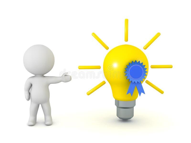 τρισδιάστατος χαρακτήρας που παρουσιάζει ιδέα λαμπών φωτός με την μπλε κορδέλλα ελεύθερη απεικόνιση δικαιώματος
