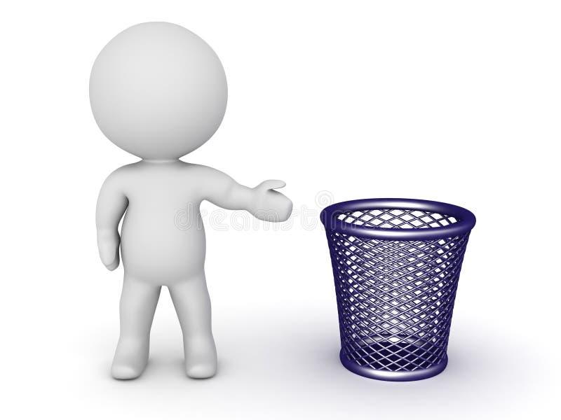 τρισδιάστατος χαρακτήρας που παρουσιάζει καλάθι απορριμμάτων απεικόνιση αποθεμάτων