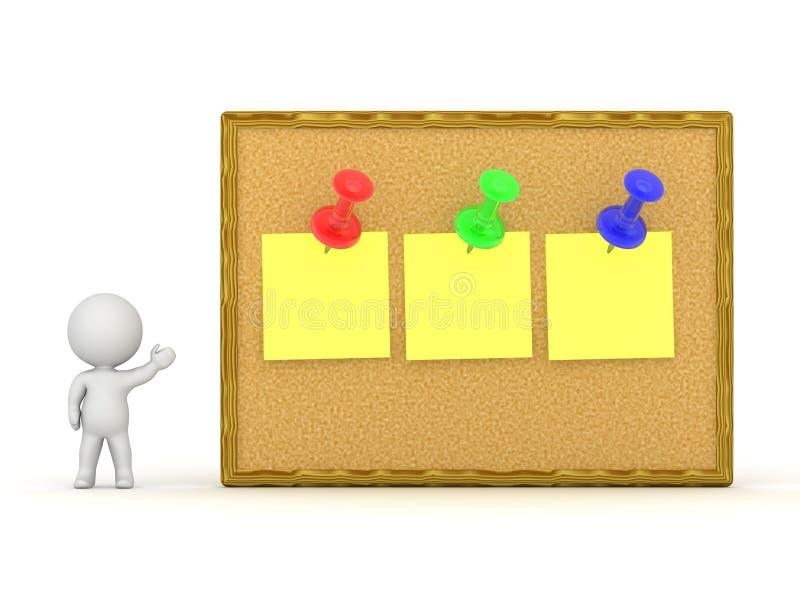 τρισδιάστατος χαρακτήρας που παρουσιάζει πίνακα του Κορκ με τρεις σημειώσεις διανυσματική απεικόνιση