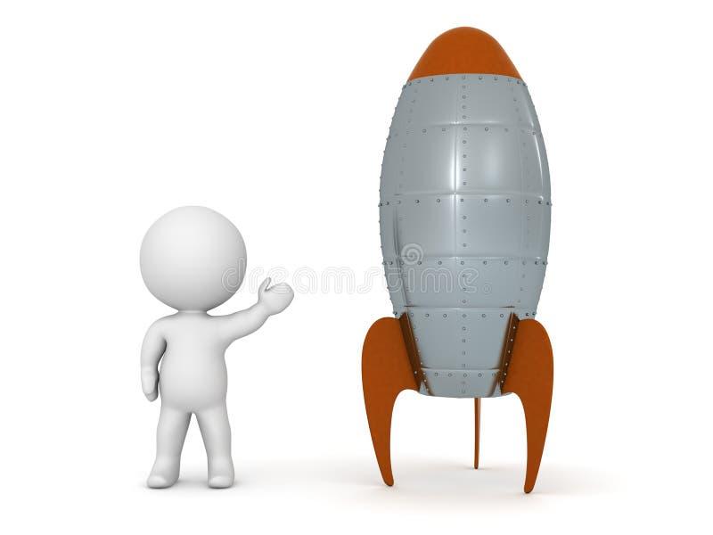 τρισδιάστατος χαρακτήρας που παρουσιάζει πύραυλο παιχνιδιών, που απομονώνεται στο λευκό ελεύθερη απεικόνιση δικαιώματος