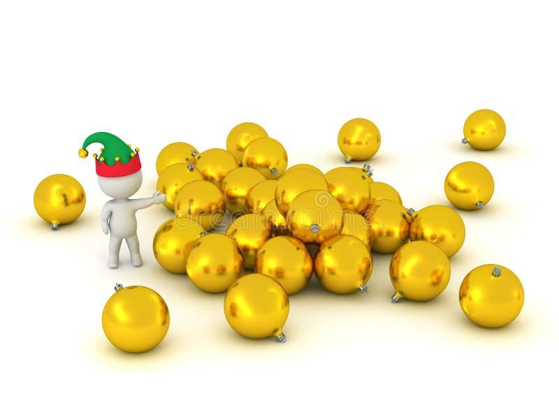 τρισδιάστατος χαρακτήρας που παρουσιάζει σωρό των χρυσών σφαιρών διανυσματική απεικόνιση