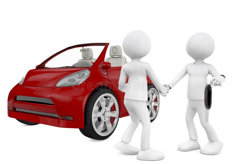 τρισδιάστατος χαρακτήρας που πωλεί το αυτοκίνητο. Απομονωμένος στο άσπρο υπόβαθρο. διανυσματική απεικόνιση