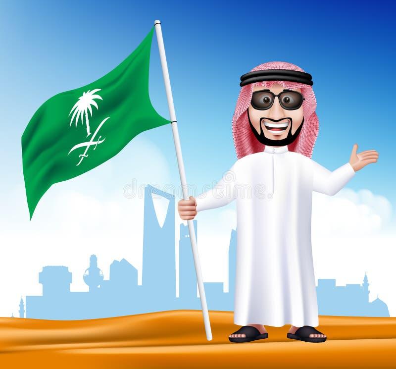 τρισδιάστατος όμορφος Σαουδάραβας - αραβικό άτομο στο παραδοσιακό φόρεμα ελεύθερη απεικόνιση δικαιώματος